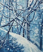 Winter Pathway, watercolour, 3.75 x 4.4 inches,unframed
